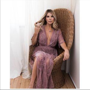 Crochet Lace Maxi Romper Dress NWT